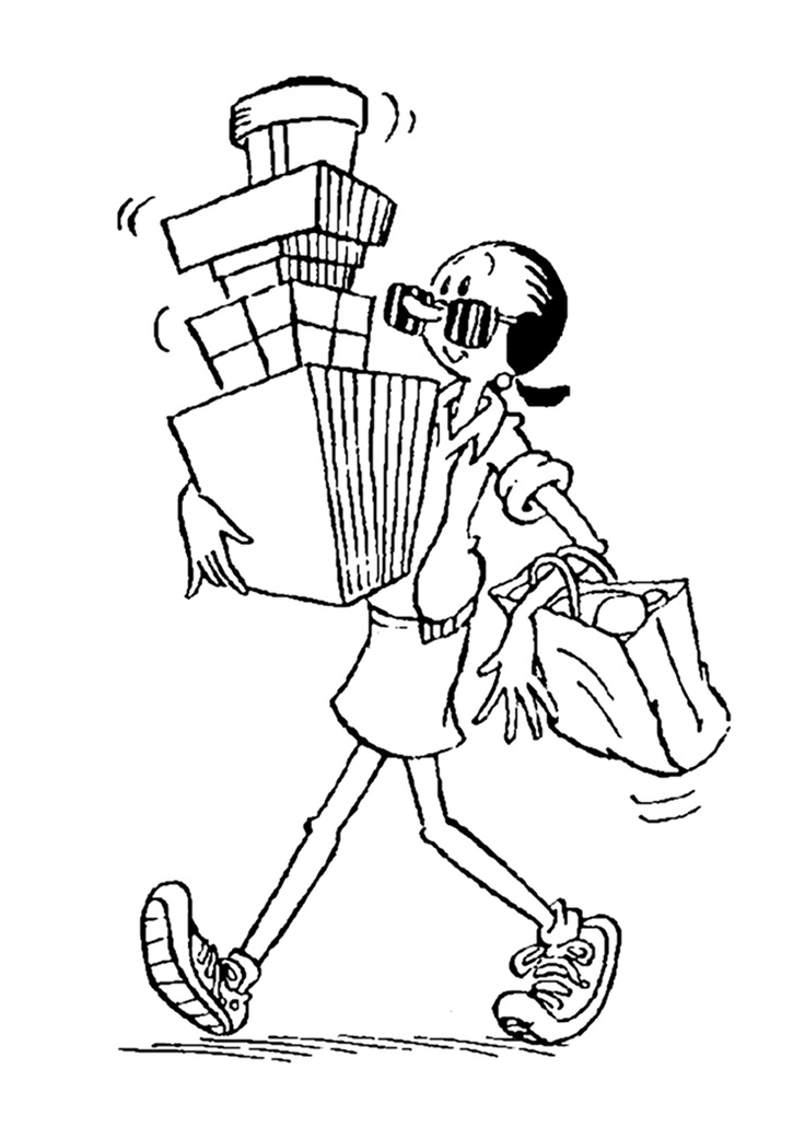 Olive Oyl With Boxes Coloring Page OLIVE OYL Pages
