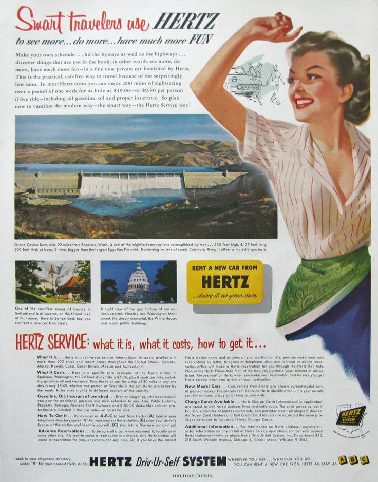 1953 Hertz Ad - Smart Travelers Use Hertz Rental Car Ad - Grand Coulee Dam - 1950s Retro Travel Advertising by RetroReveries on Etsy https://www.etsy.com/listing/237568924/1953-hertz-ad-smart-travelers-use-hertz