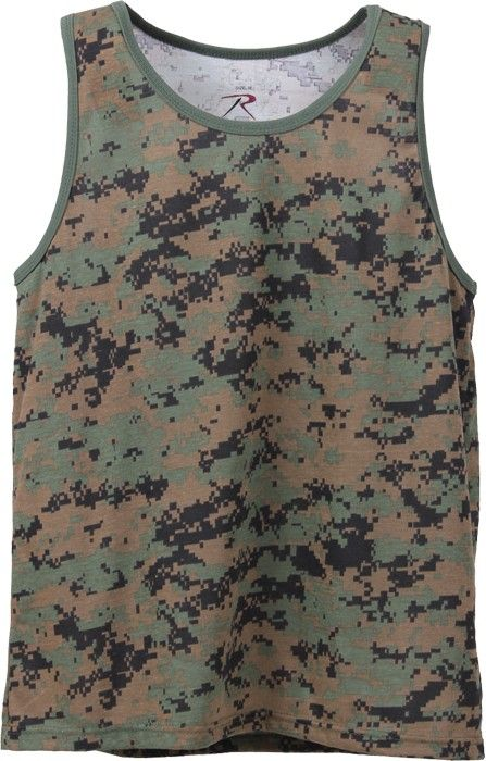 Woodland Digital Camouflage Military Physical Training Tank Top | 8734 | $7.99