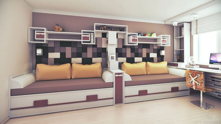 """Интерьер комнаты мальчиков """"после"""": вид с новыми спальными местами"""