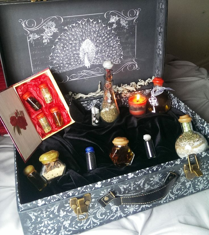 Serendipity's Secret Closet Display - Assortment of our selected potions and spells - Wicca on the Go! - White Magick - Love - Healing - Protection