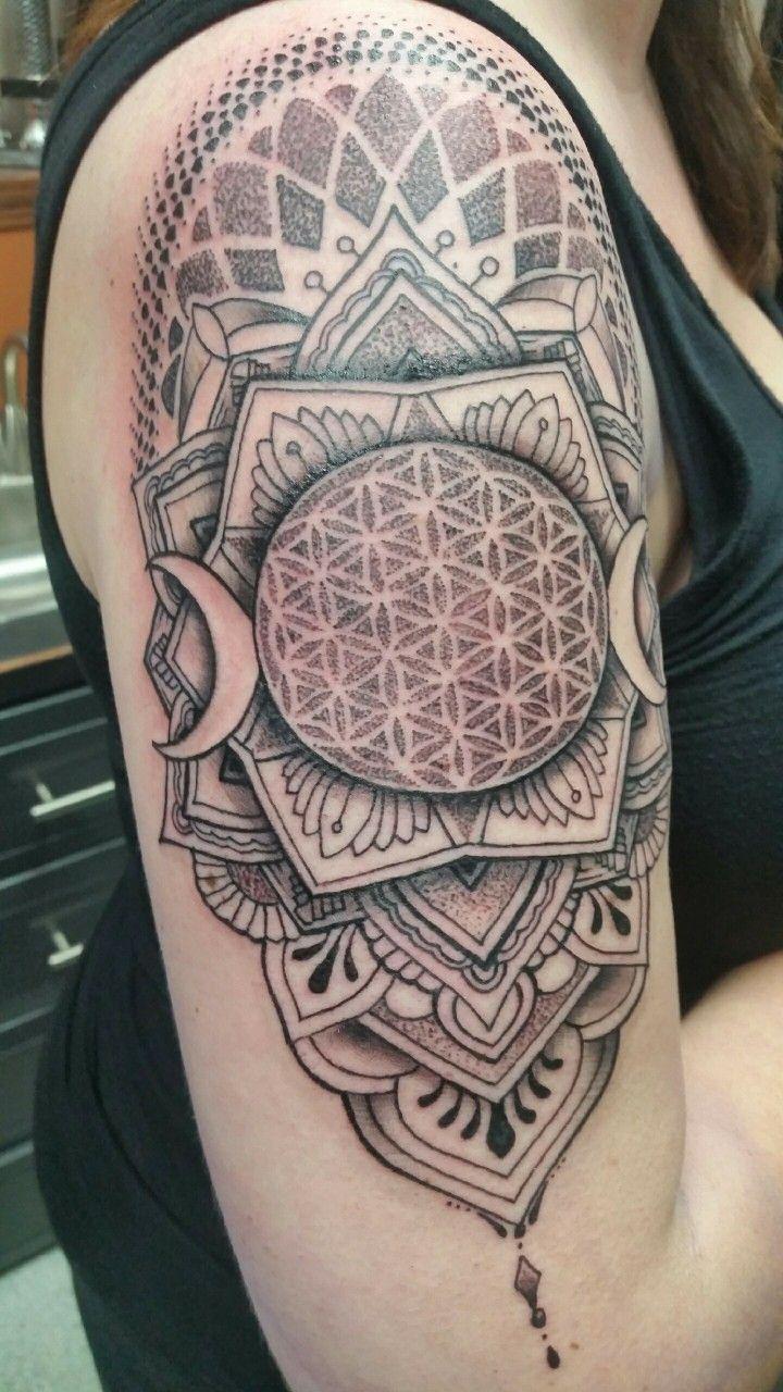 Mandala arm tattoo / flower of life / Ashley Neumann / rockstar tattoo