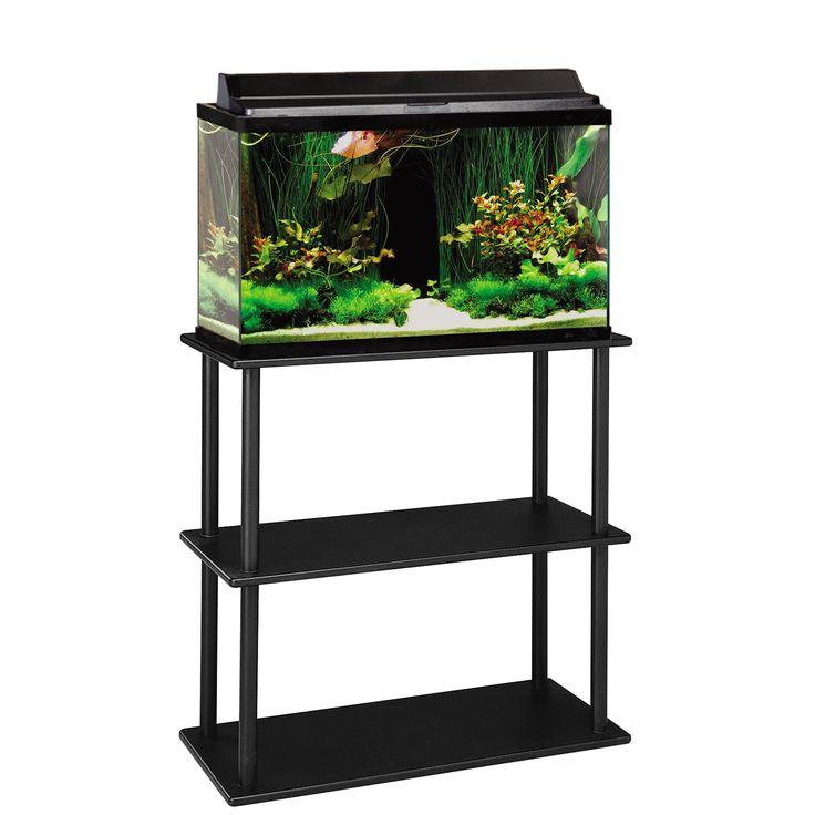 "Aquatic Fundamentals 20/29/37 Gallon Aquarium Stand with Shelf - 31""; W X 13.5""; D X 27.87""; H. Black. Stand with open shelf. Fits 20, 29, and 37 gallon tanks. - http://www.petco.com/shop/en/petcostore/product/aquatic-fundamentals-202937-gallon-aquarium-stand-with-shelf"
