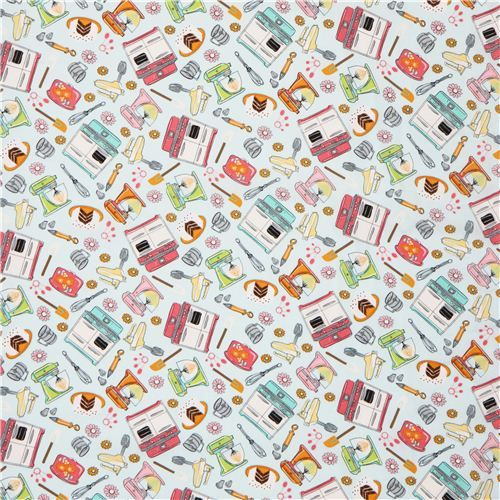 light blue kitchen cake baking fabric by Timeless Treasures 2