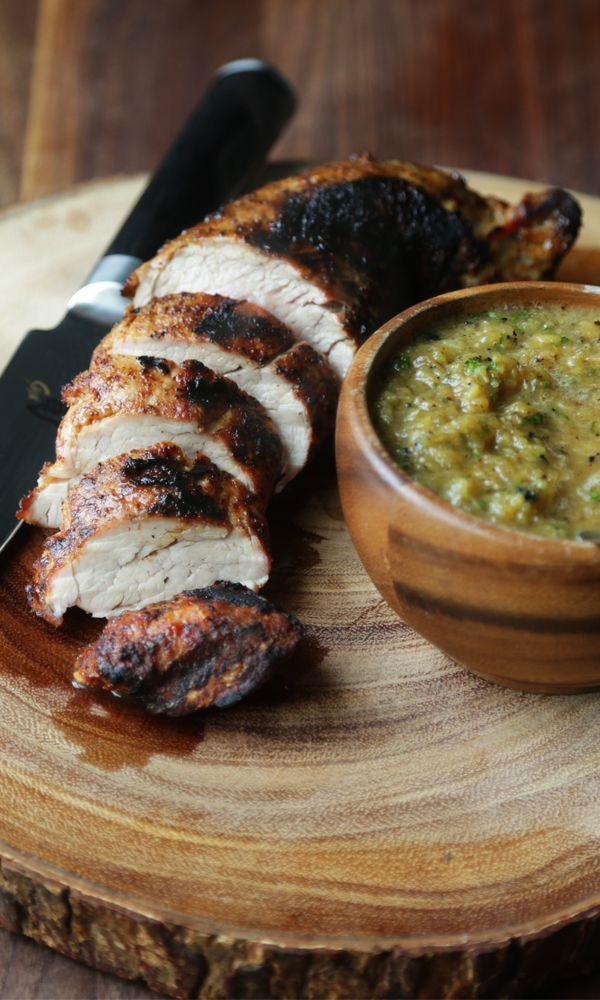 Cumin Rubbed and Grilled Pork Tenderloin with Spicy Warm Roasted Pineapple, Sweet Onions and Jalapeño Salsa!