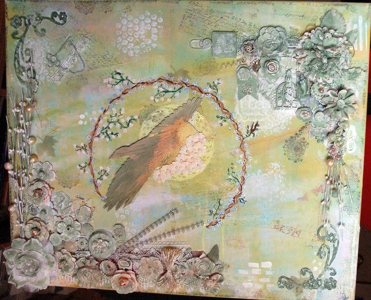 """""""Vuelo en verde""""Cuadro mixmedia,40 x 60 cm."""
