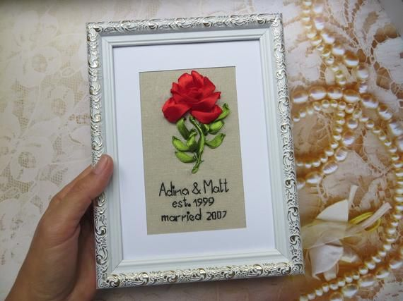 Personalised traditional 4th modern 8th linen wedding anniversary gift frame