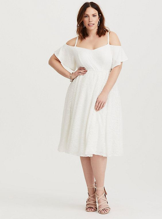 Plus Size Special Occasion Ivory Lace Skater Dress aa1c83ec72a4