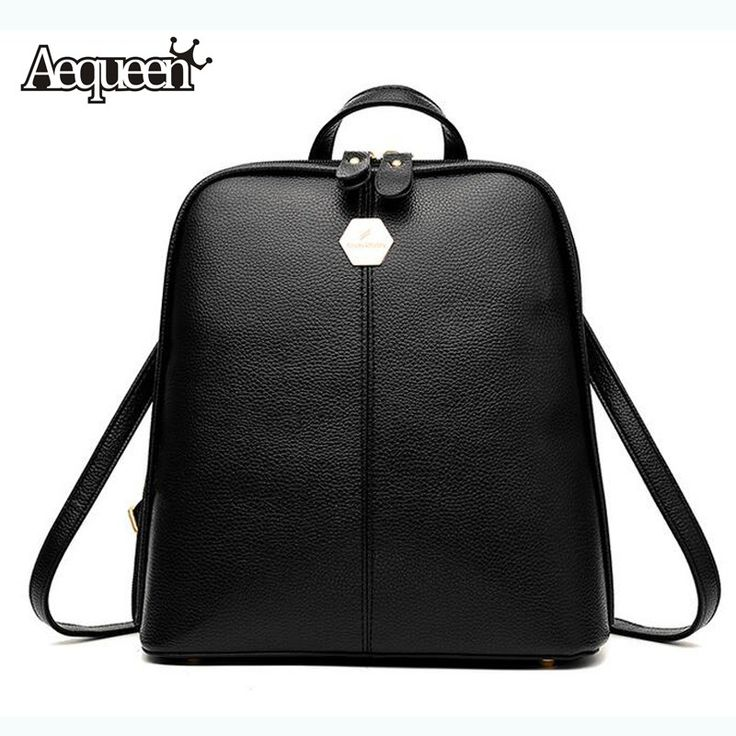 AEQUEEN PU Leather Backpack Women High Quality Fashion Multifunction Backpacks School Bags For Teenagers Girls Rucksack