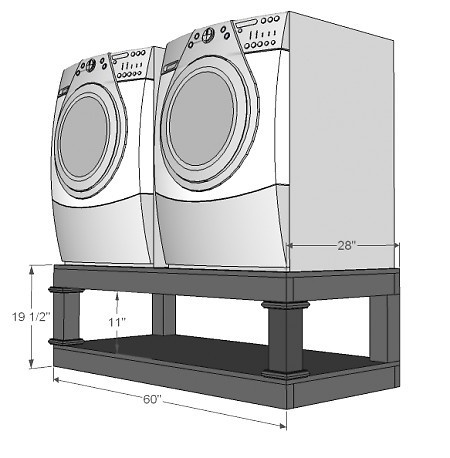 Washer and Dryer Pedestal (baskets can fit underneath and doors are higher up so not as much bending down)