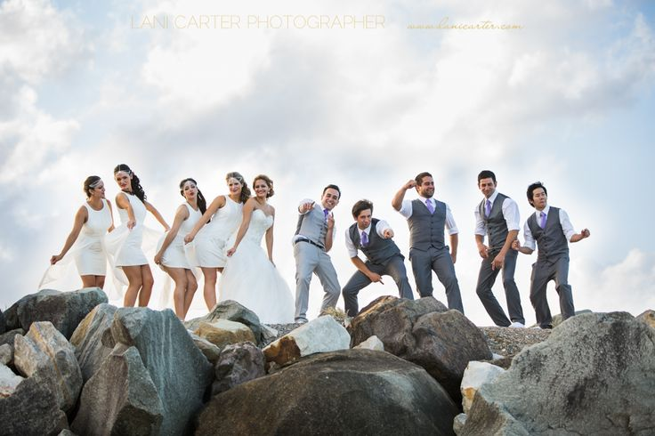 Bridal party at the spit, Noosa. www.lanicarter.com