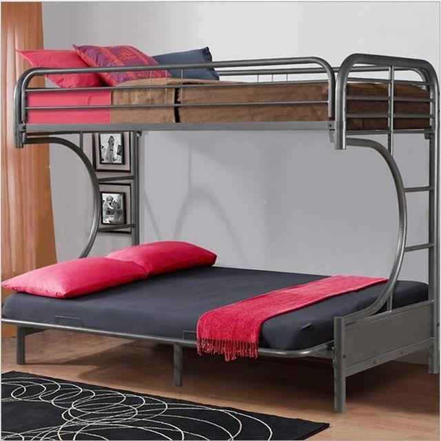 Cama de beliche para crianças dupla de aço preto conjuntos de cama quarto mobiliário Crianças cama de beliche de aço doméstico frete grátis camas de beliche