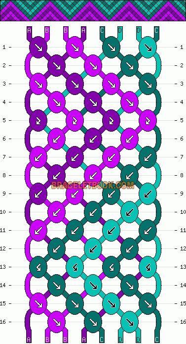 Normal Friendship Bracelet Pattern #11069 - BraceletBook.com