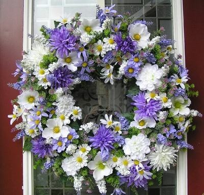 Purple & White Floral wreath
