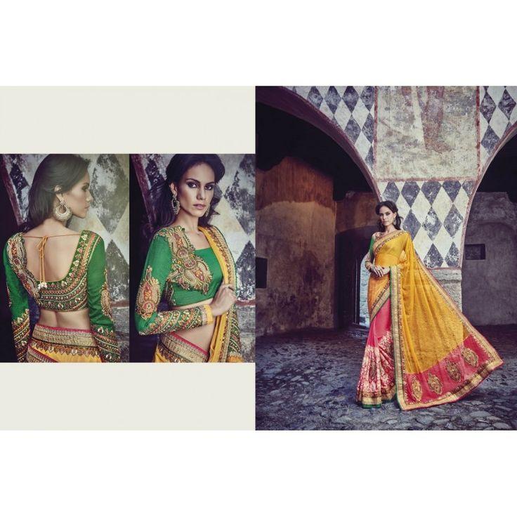 Viva N Diva Yellow & Pink Color Net & Bamberg Georgette Saree http://goo.gl/pJ8F3F