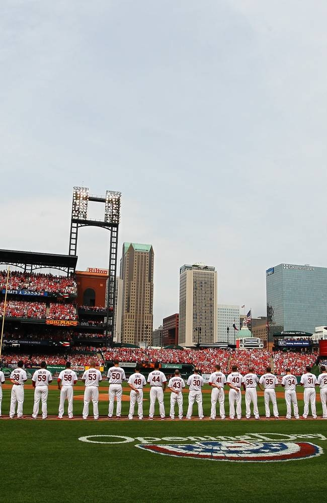 The St. Louis Cardinals lineup on Opening Day.   4-08-13