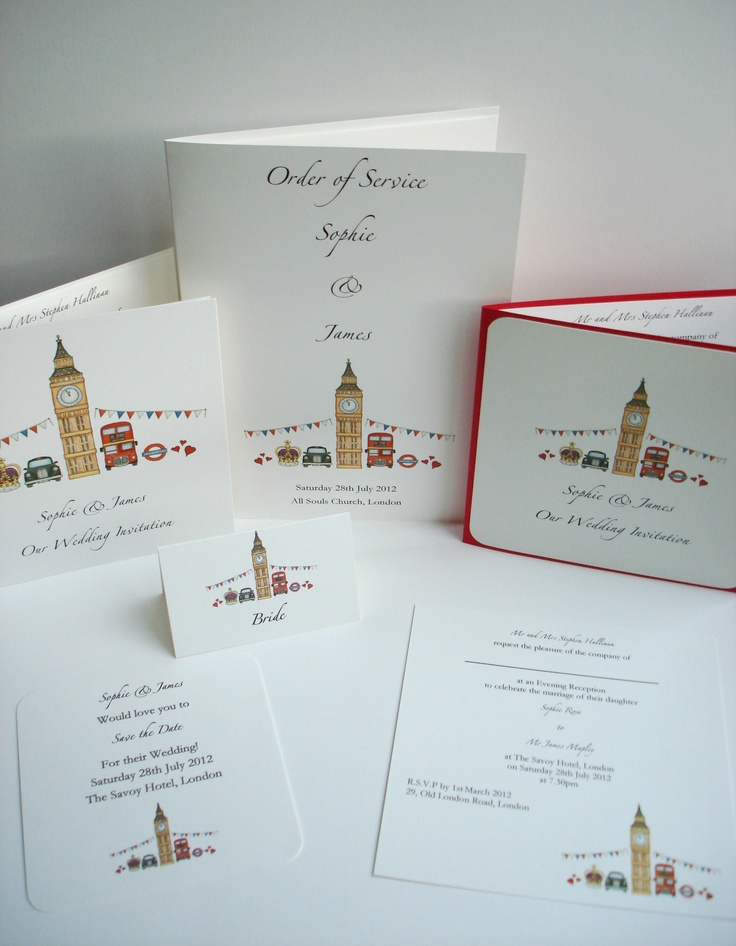 London Theme Wedding Stationery www.beadazzledesigns.co.uk