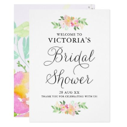 Dainty Watercolor Florals Bridal Shower Welcome Card - invitations custom unique diy personalize occasions