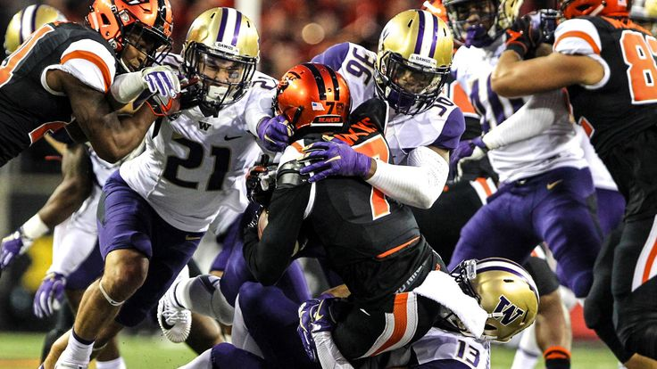 CORVALLIS, Ore. (AP) — Jake Browning threw for three touchdowns, Myles Gaskin ran for 113 yards and a score and No. 6 Washington broke open a close game with a 21-point third quarter to beat Oregon State 42-7 on Saturday night.