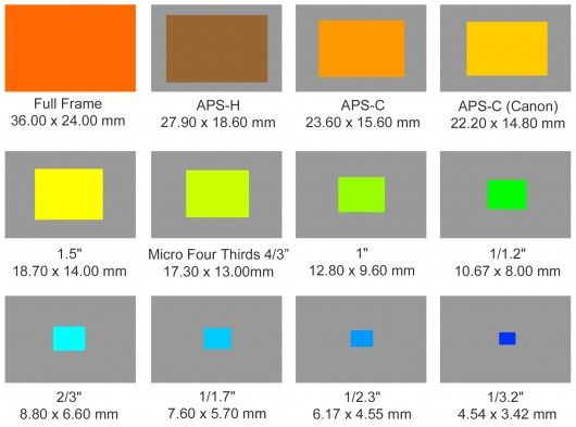Different sensor sizes compared with each other shows how big Full Frame, APS-H, APS-C (Ni...