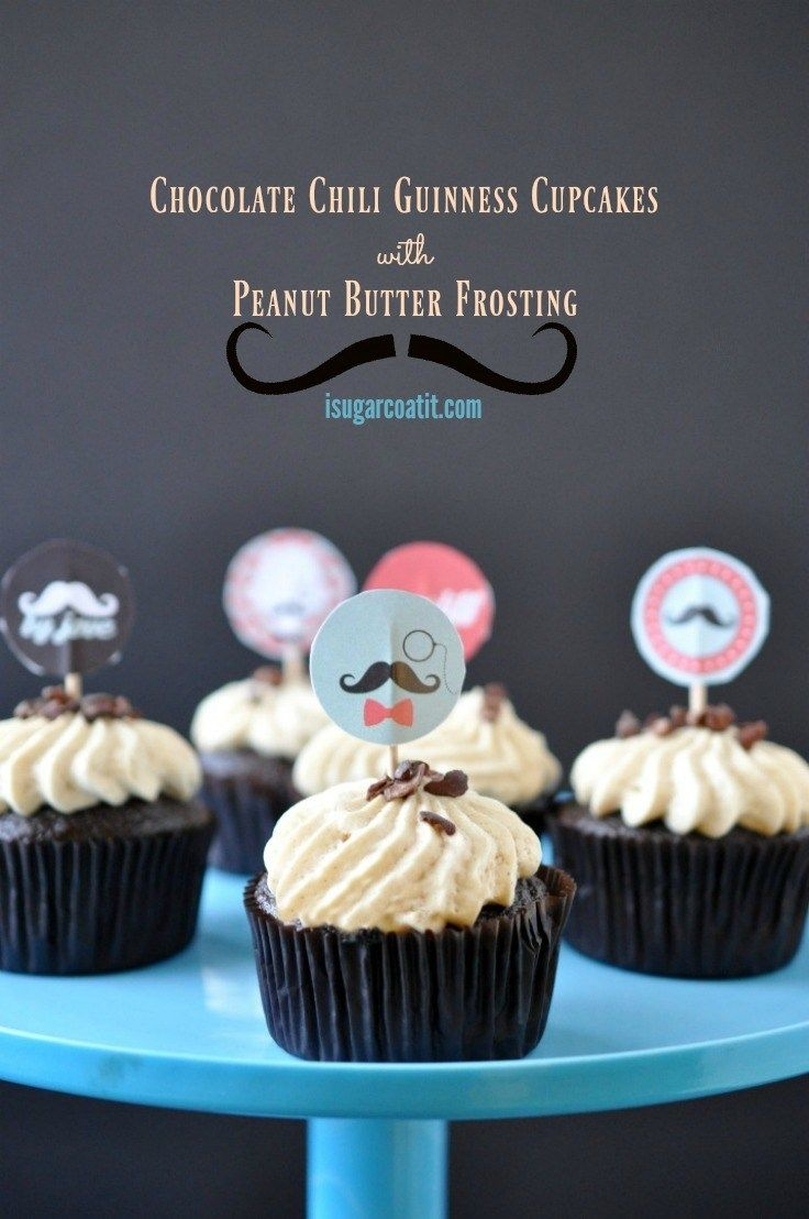 Chocolate Chili Guinness Cupcakes with Peanut Butter Frosting are a Dude's kind of cupcake, filled with stout, chili and topped with peanut butter frosting!