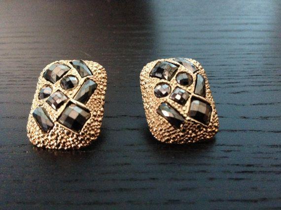 Gray Rhinestone /Vintage Earring/  Statement Earring on Etsy, $30.00