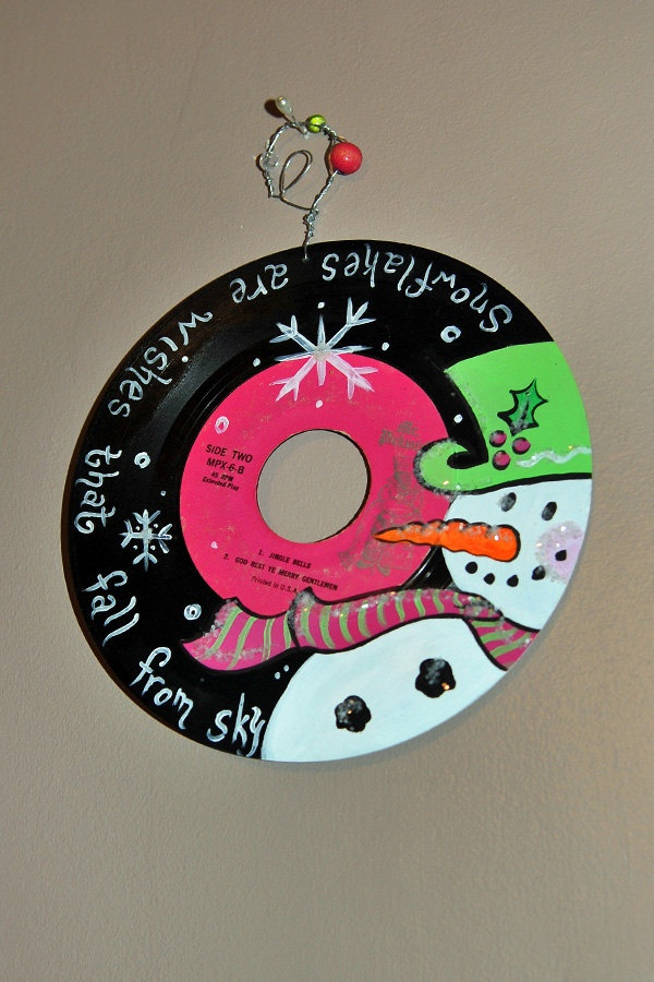 Hand painted Snowman Vinyl Christmas Music 45 Record. $18.00, via Etsy.