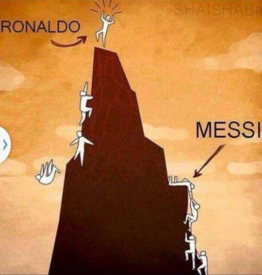 Lionel Messi pomaga kolegom w dotarciu na szczyt • Cristiano Ronaldo po trupach do celu • Dwie inne drogi na szczyt • Zobacz foto >>