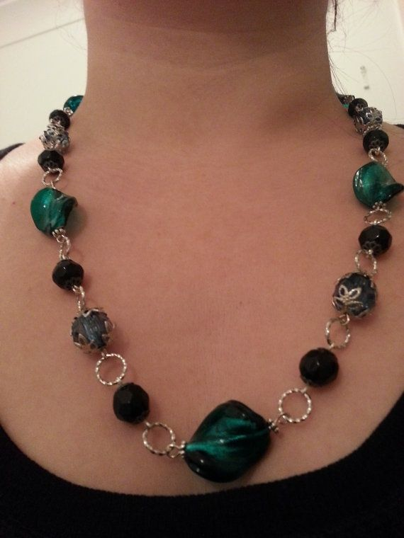 Turquoise and Black Glass Bead Necklace from https://www.etsy.com/au/listing/157783540/turquoise-and-black-glass-bead-necklace#