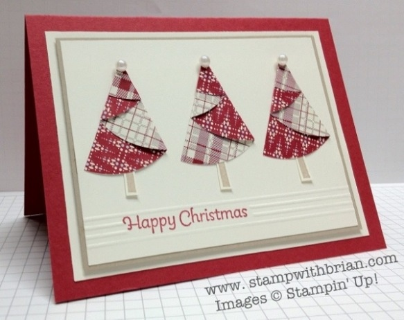 Christmas Tree Half-Circle Folds, More Merry Messages, Bring on the Cake, Festival of Prints DSP Stack, Stampin' Up!