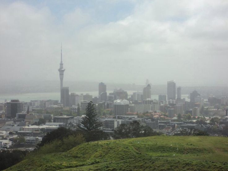 View of the Sky Tower in Auckland, New Zealand from Mount Eden