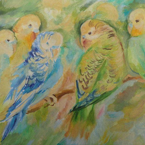 Wildlife Birds Budgies Parrots ORIGINAL OIL by CanisArtStudio