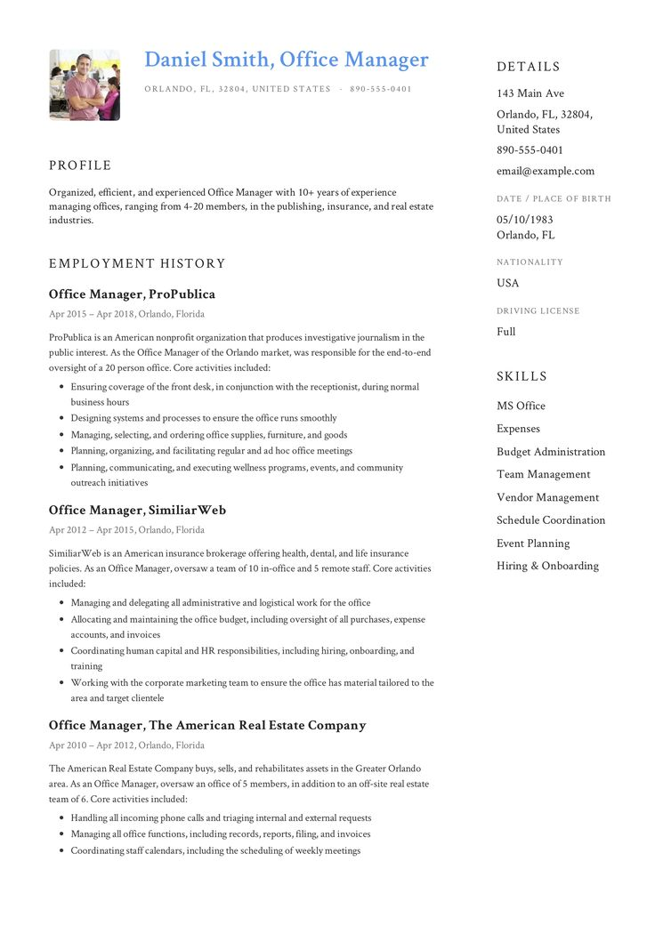 Free office manager resume sample template example cv