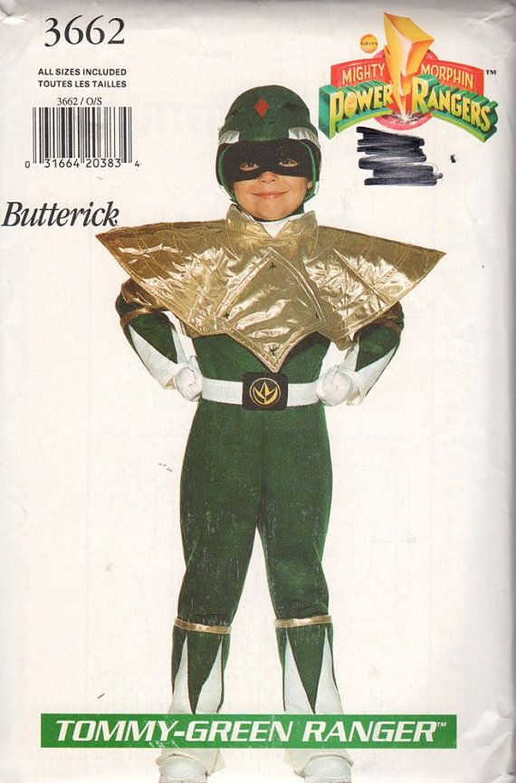 Butterick 3662 Boys Girls Tommy Green Ranger Power Ranger Costume Sewing Pattenr by mbchills