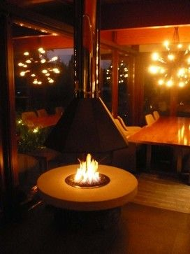 Outdoor Fire Pit With A Suspended Hood Vancouver Gas