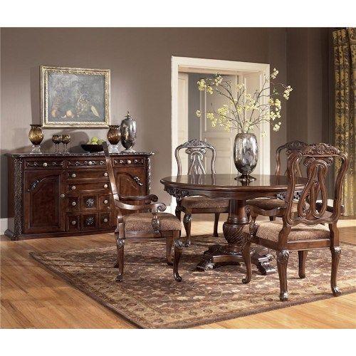 Ashley Millennium North Shore 5 Piece Single Pedestal Table Arm Chair Set At J Furniture
