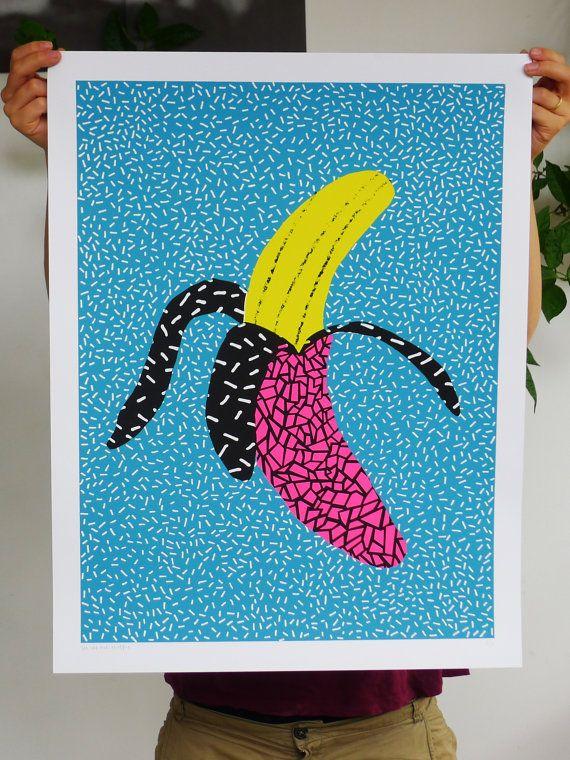 Colorful weird banana pattern screenprint by weareoutofoffice