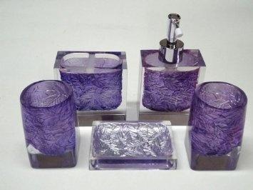 Bath accessory set 5 pcs purple leaf bathroom set for 47 for Purple bathroom accessories