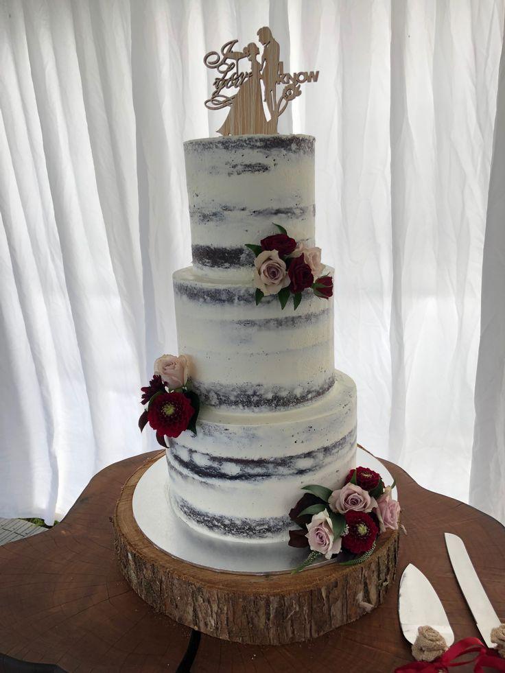 Three tier naked wedding cake