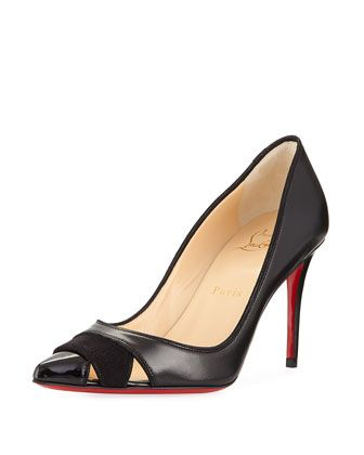 Biblio+Leather+85mm+Red+Sole+Pump+by+Christian+Louboutin+at+Neiman+Marcus.