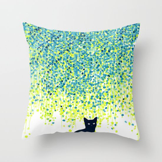 Cat in the garden under willow tree Throw Pillow by Budi Kwan - $20.00