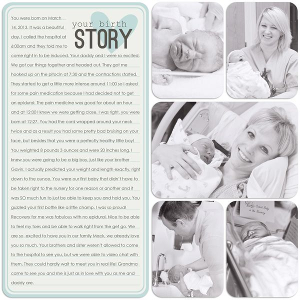 birth story baby project life inspiration.... Love it. A must for baby books and more to have! :)