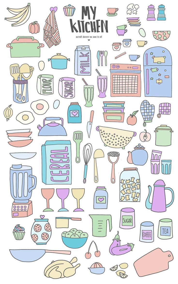 Kitchen Collection by Yona Ellis on @creativemarket  KITCHEN ILLUSTRATION FRUIT FOOD DIY CLIP ART LOGO PACK GRAPHIC ARTWORK COLLECTION CREATIVE HAND DRAWN DESIGN YUMMY BAKING RESTAURANT PATTERN