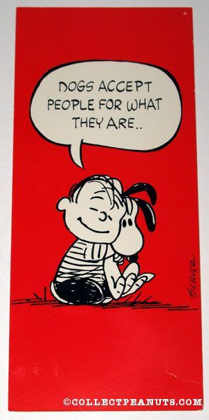 Linus  Snoopy - Dogs Accept People For What They Are..
