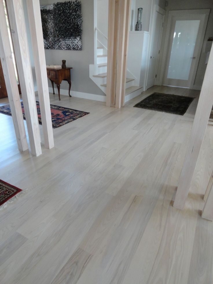 Floor White Stained Ash Stair Treatment