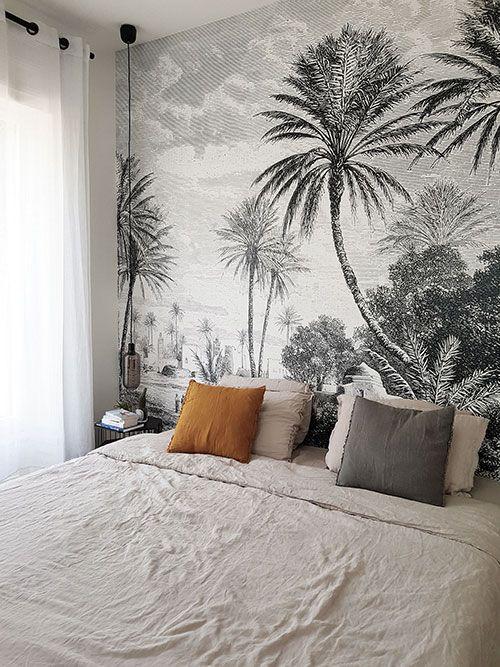 T te de lit avec le papier peint panoramique oasis des Decoration papier peint