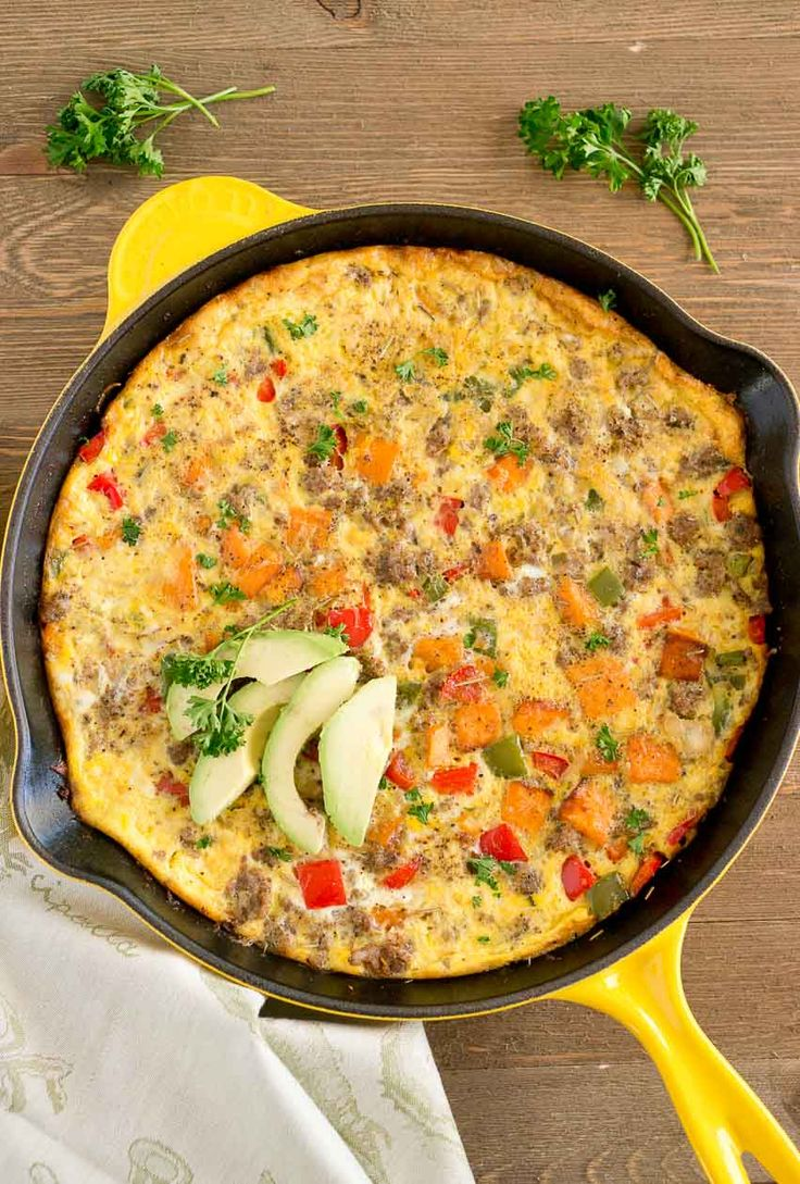 A healthy savory breakfast or brunch full of delicious ingredients! A Sweet Potato Sausage Frittata perfect for a weekend brunch or weeknight dinner! via @NeliHoward