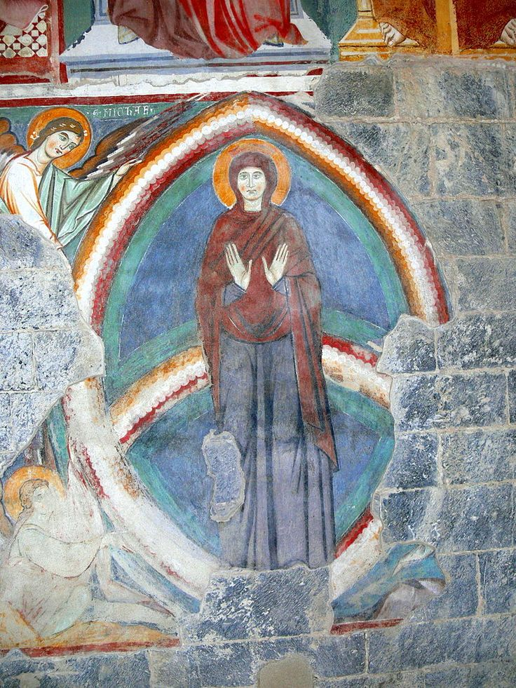 12th century fresco, Madonna in hazel