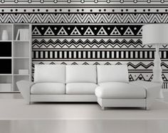 Wall Mural Mid Century Triangles by HomeArtStickers on Etsy