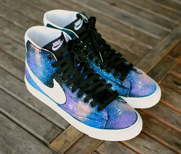 These custom black canvas Nike Blazer Mid iD Sneakers features my hand painted galaxy design. These blazers were ordered from the Nike iD site, custom with Black canvas, white leather Nike swoosh and